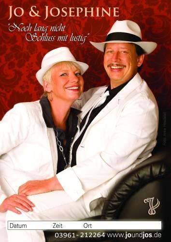 Plakat norddeutsche Musik und Schlager mit Jo & Josephine auf Sofa