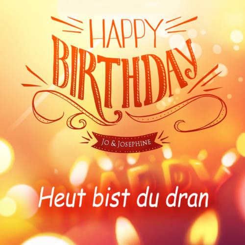 Glückwunsch zum Geburtstag Cover des Geburtstagsliedes mit Aufschrift happy birthday