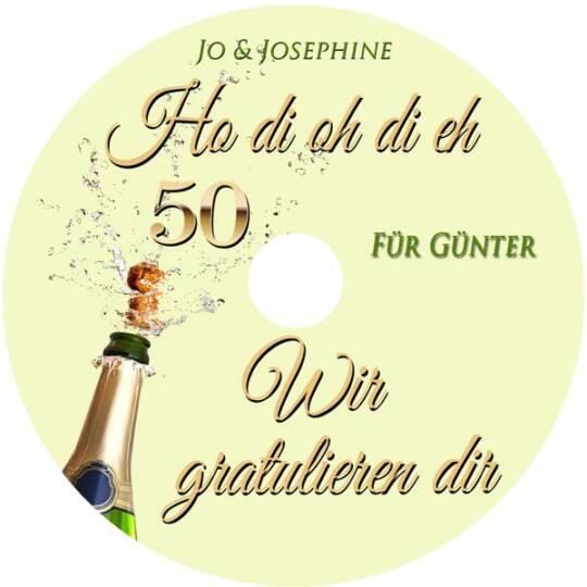Geburtstagsgrüße zum 50. Geburtstag mit personalisierter CD Label