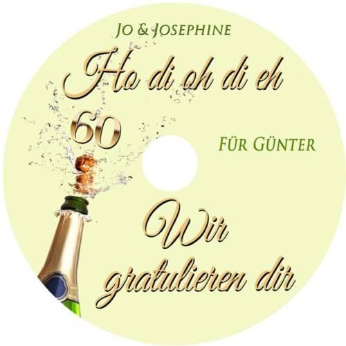 Label Geburtstagsgrüße zum 60. Geburtstag mit personalisierter CD Wir-gratulieren-dir