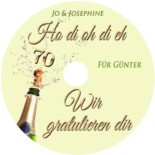 Geburtstagsgrüße zum 70. Geburtstag mit personalisierter CD Label Wir gratulieren dir