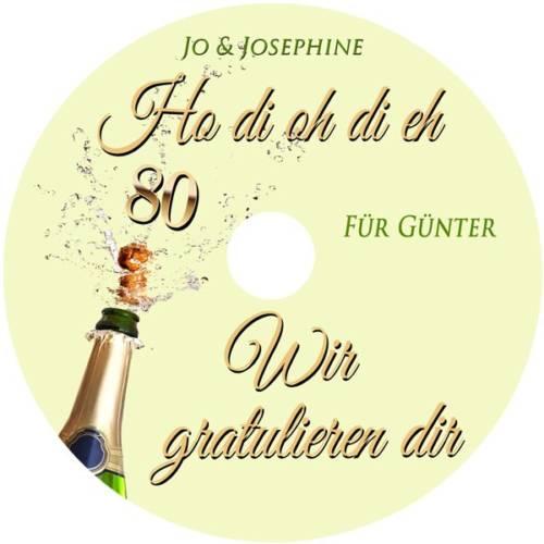 Geburtstagsgrüße zum 80. Geburtstag mit personalisierter CD Label
