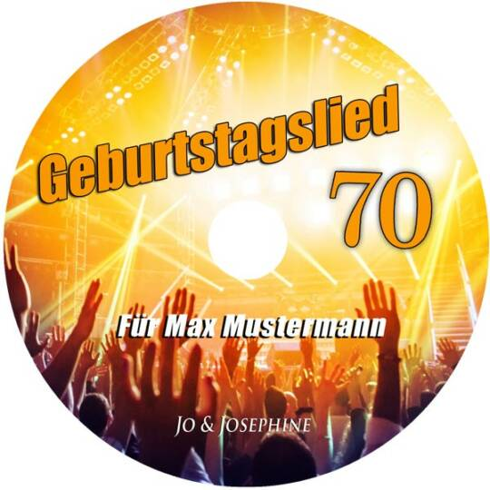 personalisiertes geburtstagslied - cd zum 70. geburtstag label