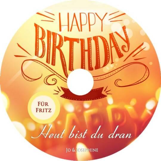lHerzlich. Glückwunsch zum Geburtstag. Label der CD mit Happy Birthday als Aufschrift