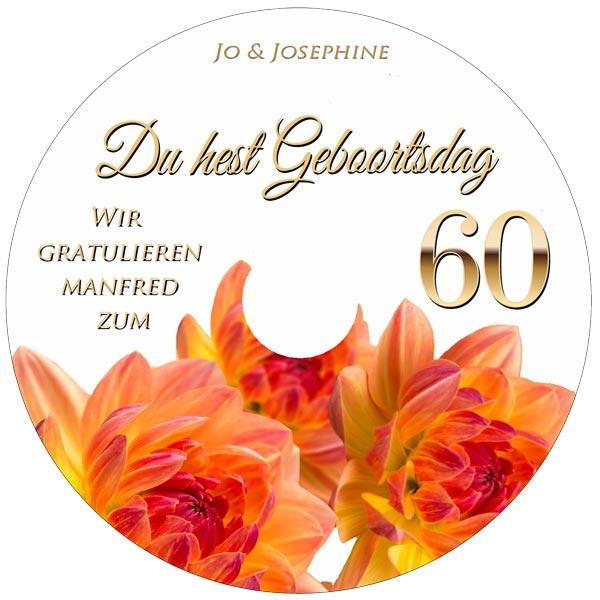 Label persönliche Glückwünsche zum 60. mit plattdeutschem Geburtstagslied