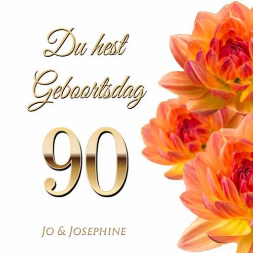 Plattdeutsches Geburtstagslied zum 90 Cover mit Blumen