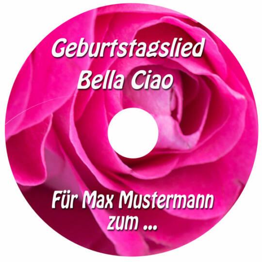 Herzlichste Glückwünsche zum Geburtstag Personalisiertes Geburtstagslied Bella Ciao Label der CD