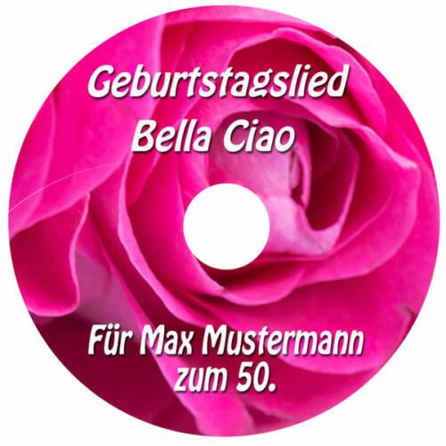 Geburtstagslied zum 50. Label der CD Personalisiertes Bella Ciao Pinkfarben