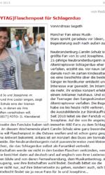 Zeitungsartikel Fan von Jo & Josephine gibt Flaschenpost auf