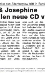 Zeitungsartikel Neue CD Gesangsduo Jo & Josephine